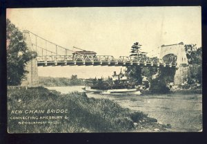 Newburyport/Amesbury, Massachusetts/MA Postcard, New Chain Bridge