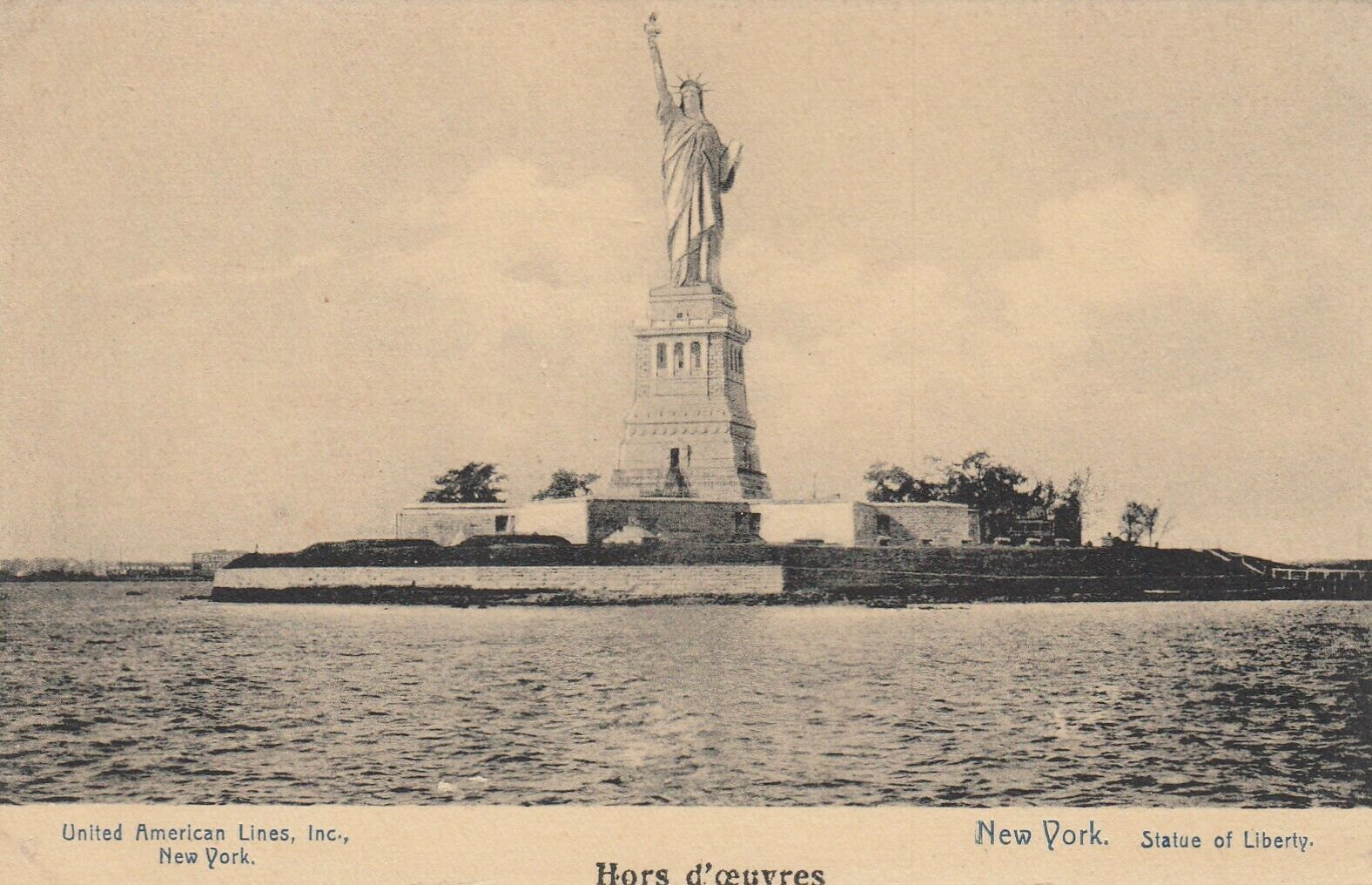 New York City 1920s Statue Of Liberty United American Lines Inc Ny Card Hippostcard