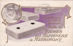 Good Fortunes As Told By Dominoes Double Ace Richness & Happiness In Matromon...