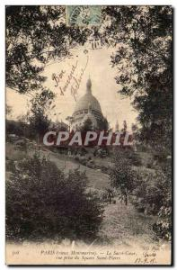 Old Postcard Old Montmartre Paris Sacre Coeur taking view of St. Peter Square