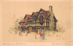 STRATFORD ON AVON UK SHAKESPEARE BIRTHPLACE~MARJORIE C BATES ARTIST FAC POSTCARD