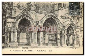 Old Postcard Cathedral of Chartres North Portal