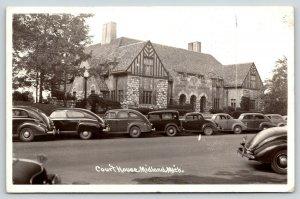 Midland Michigan~Court House~Tudor Style~Tractor Killed Boy~1930s Cars RPPC