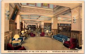 Houston Texas Postcard Newly Decorated Lobby BEN MILAM HOTEL Linen 1938 Cancel