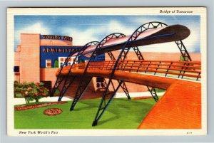 1939 New York World's Fair - Bridge of Tomorrow Admin Building - Linen Postcard
