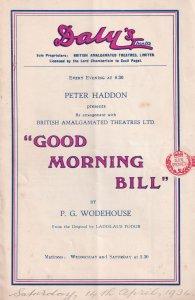 Good Morning Bill Peter Hadden Mary Godwin Rare Dalys Theatre Programme