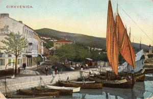 Croatia Primorje-Gorski kotar Cirkvenica harbour sailing vessels boats postcard