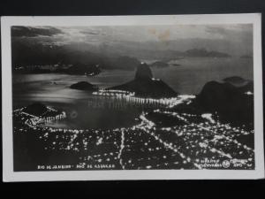 Brazil: - Rio De Janeiro - Pao de Assucar By Night, Old RP Postcard