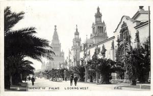 c1915 RPPC Postcard 4 Avenue of Palms P.P.I.E. San Francisco CA Exposition