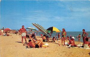 Surf City New Jersey~Beach Scene~Lots of Sunbathers~Ocean County~1957 Postcard