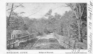 Madison Connecticut~Bridge at Ninevah~Dirt Road~Wood Rails~1905 B&W Postcard