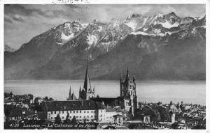 Switzerland Lausanne - La Cathedrale et les Alpes