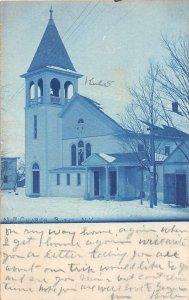 G45/ Burke New York RPPC Postcard Blue Tint 1911 M.E. Church Building