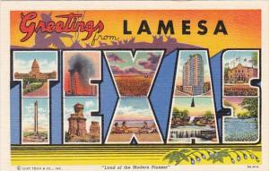 Texas Greetings From Lamesa Large Letter Linen Curteich
