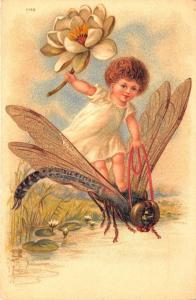 Beautiful Art Pentecost Dragonfly White flower 1901 Postcard
