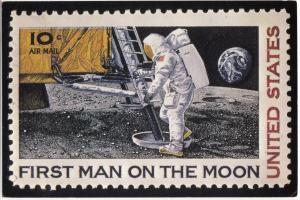 Postcard showing the First Man on the Moon Stamp