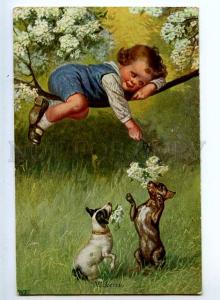 240482 Boy on Tree JACK RUSSELL TERRIER by FIALKOWSKA Vintage