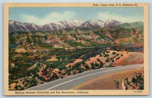 Postcard CA Cajon Pass Route 66 Between Victorville & San Bernardino Linen Q13