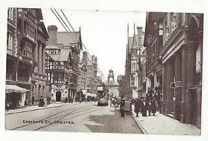 UK Cheshire England Chester Eastgate Street Scene Trolley Vtg c 1910 Postcard