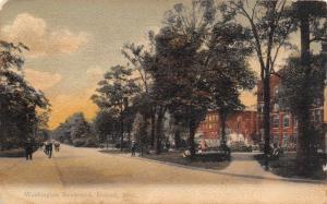 Detroit Michigan~Washington Boulevard Fountain Spray~Victorians on Sidewalk~1907