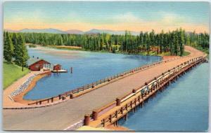 Yellowstone National Park Postcard Fishing Bridge Yellowstone River Linen c1940s