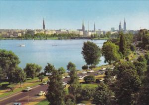 Germany Hamburg Outer Alster Lake And City Skyline