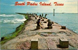 Vtg 1960s South Padre Island Fishing Jetty Gulf Coast Texas TX Postcard