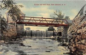 B76/ New Milford New York NY Postcard 1921 Bridge and Mill Dam