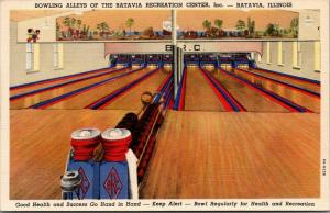 Batavia Illinois~BRC~Batavia Recreation Center~Bowling Alley Interior~1939 Linen