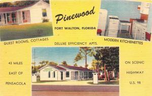 B3/ Fort Walton Florida Fl Postcard Linen Pinewood 3View Cottages Interior