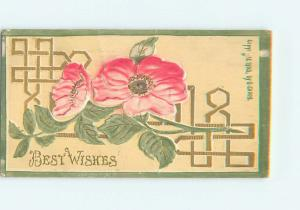 1909 thick postcard BEAUTIFUL EMBOSSED PINK FLOWERS o8706