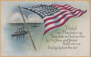 Patriotic-Unfurl our Flag before us... Flag in front of ships - 1919