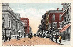LPA26 Fort Wayne Indiana Transfer Corner Town View Postcard