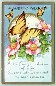 Easter~Yellow Butterflies on Wild Pink Roses~Skies of Blue~Gold Border~Whitney