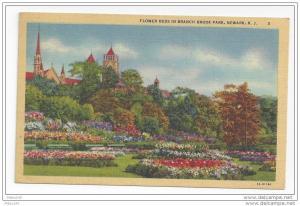 NJ Newark Branch Brook Park Flower Beds Vintage Linen Postcard 1949