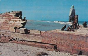 Remains of the 4 masted schooner, Laura A. Barnes' wreck, Outer Banks of Nort...