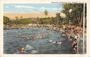 Rutland Vermont~Municipal Swimming Pool~1930 Postcard