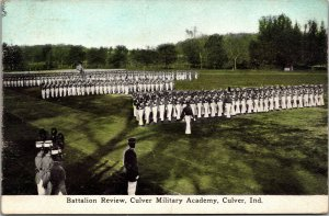 Vtg 1910s Battalion Review Troops Culver Military Academy Culver IN Postcard
