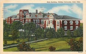 Enid Oklahoma~Phillips University~Main Building~1944 Linen Postcard