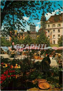 Postcard Modern Market with Viktualen Townsteeples inBackground