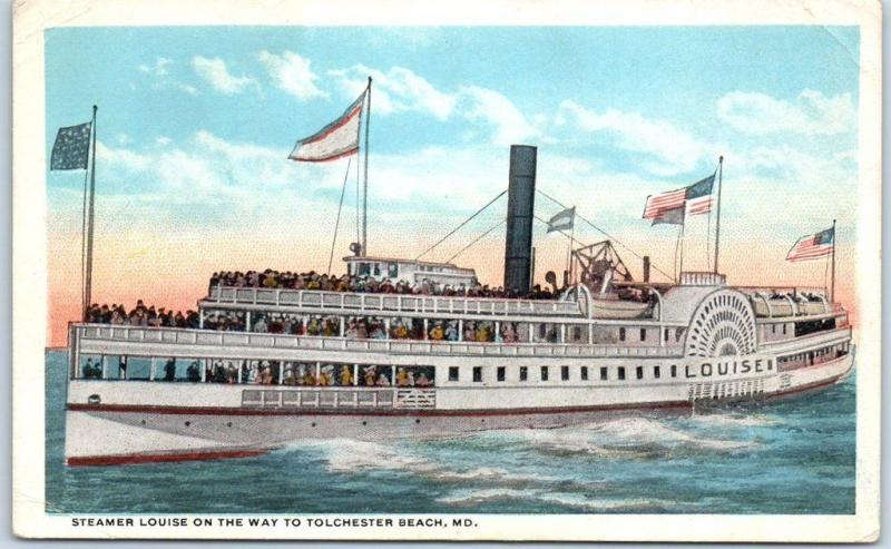 1910s Maryland Postcard Steamer Louise on the Way to Tolchester Beach