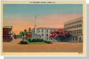 Lenoir,North Carolina/NC Postcard,Monument Square,Near Mint!