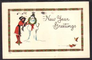 Happy New Year Greetings Woman Snowman Postcard 4201