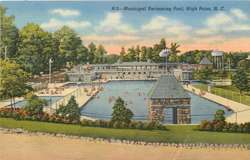 High Point North Carolina~Municipal Swimming Pool~Water Tower~1940s Postcard