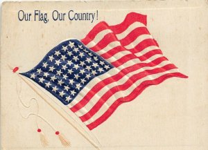 OUR FLAG ~ OUR COUNTRY! 48 STAR FLAG-HEAVY EMBOSSED PATRIOTIC POSTCARD