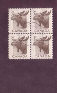Canada, Used Block of Four, Moose, 3 Cent Scott #323, Nice Cancel,