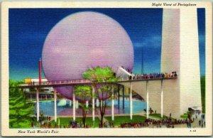 1939 NEW YORK WORLD'S FAIR Postcard Night View of Perisphere Linen # A-42