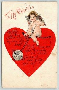 HBG Valentine~Cupid on Heart~Arrows Make Globe Go Round~Broke~Daft!~Embossed~L&E