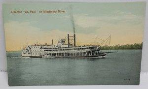 St Paul Steamer Mississippi River Vintage Postcard