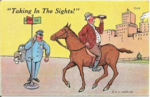 Comic Postcard Man Backward on Horse Looking Through Wine Bottle w/ Cop Watching